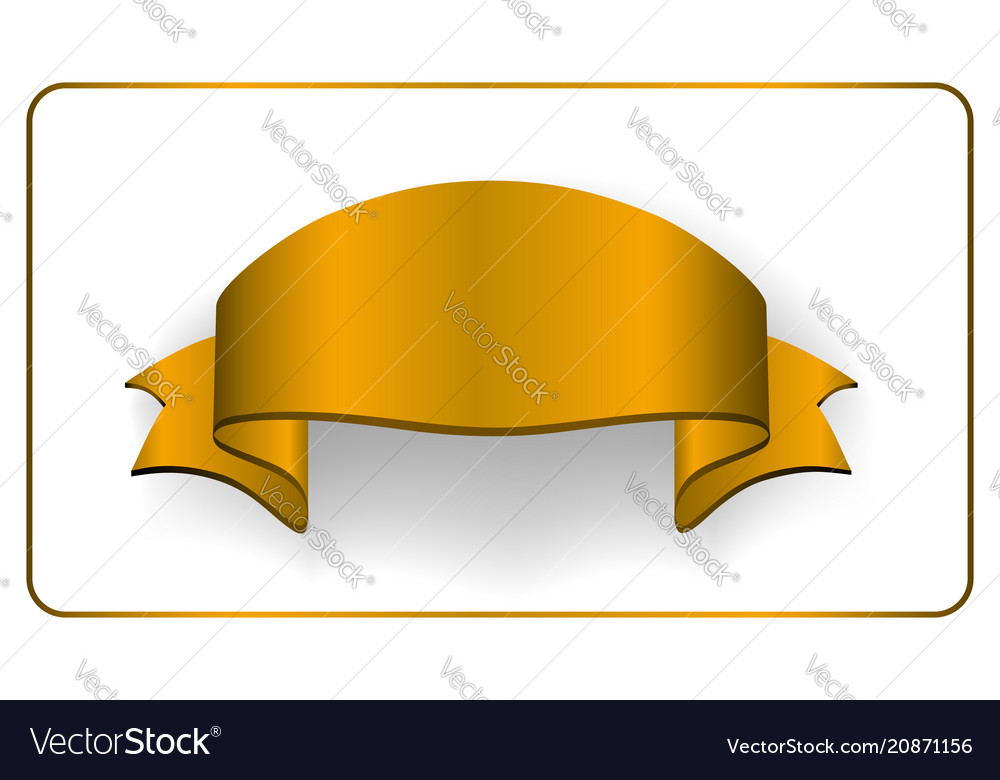 Gold satin empty ribbon golden blank banner vector image
