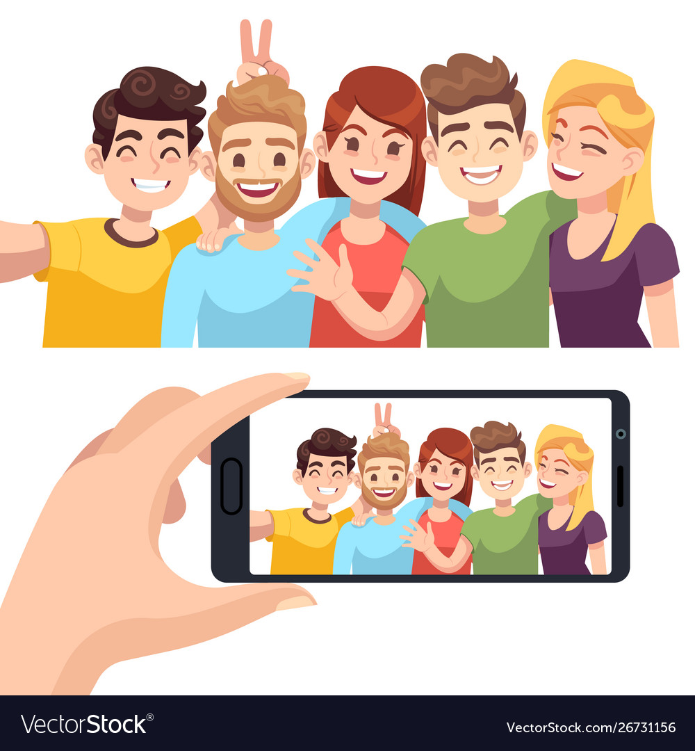 Group selfie on smartphone young happy people