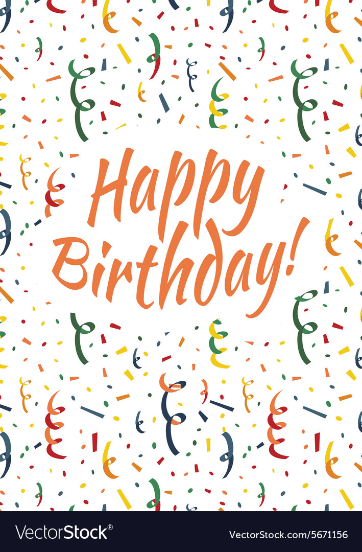 Happy Birthday Card Cover With Colorful Serpentine