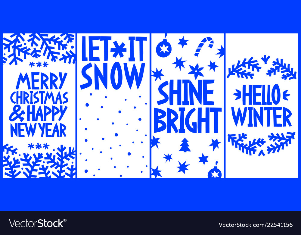 Merry christmas and new year greeting card set