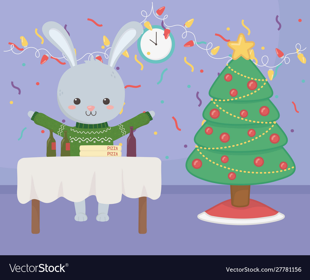 Merry christmas celebration cute rabbit with