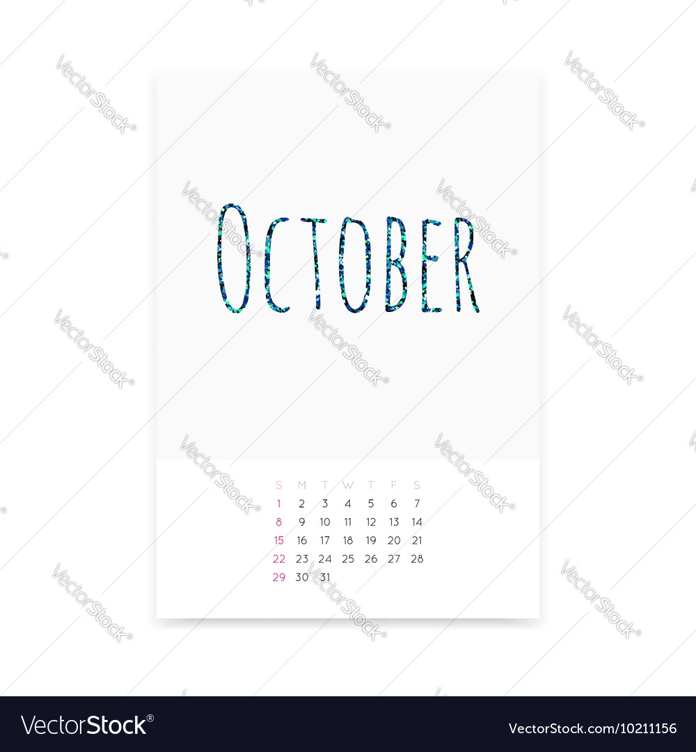 October 2017 Calendar Page vector image