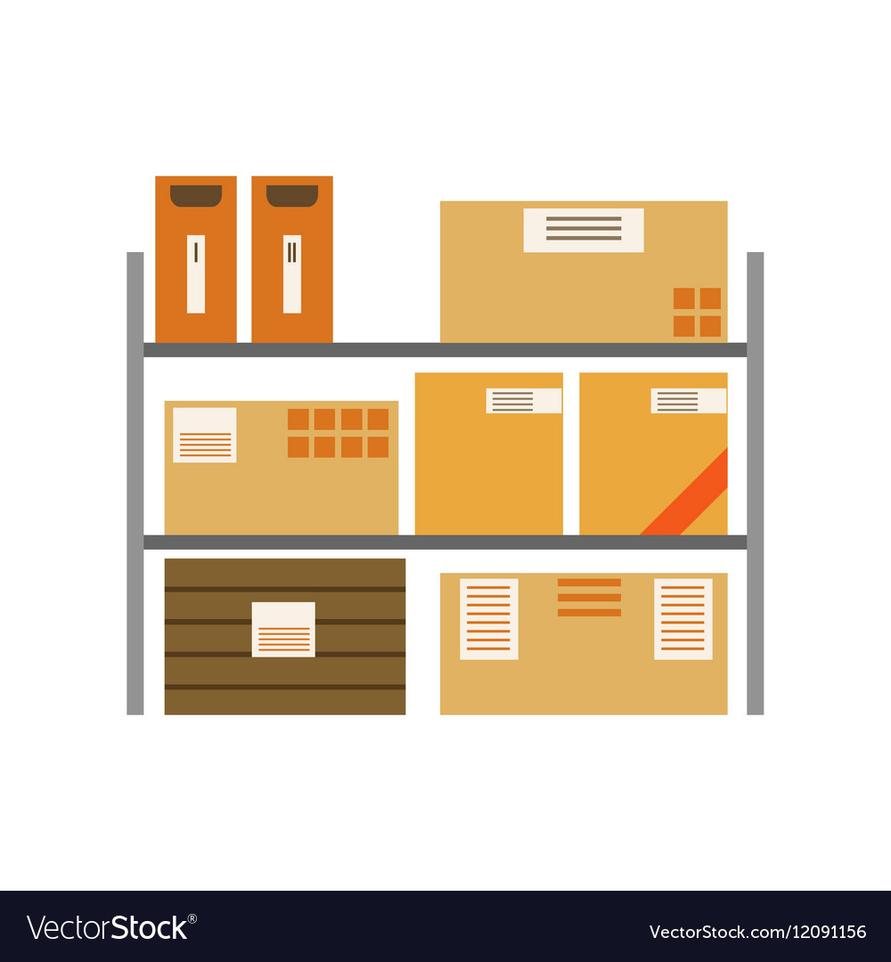 Paper Box Packages Piled In The Warehouse Metal vector image