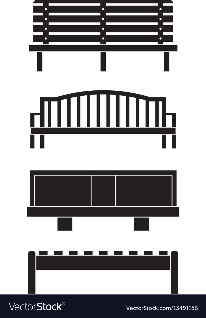 Park benches icons set