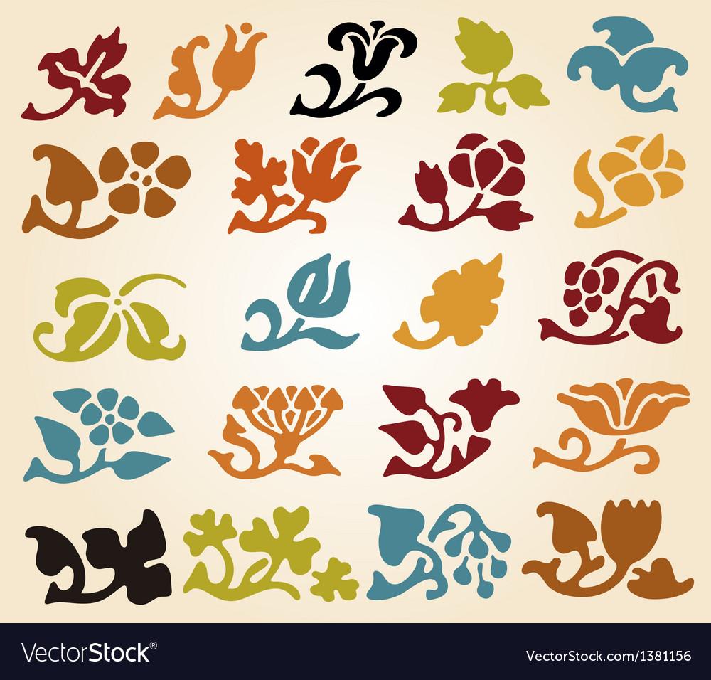 Retro Floral Elements