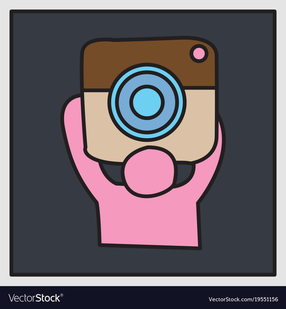 Unusual look web icon of modern lineart camera