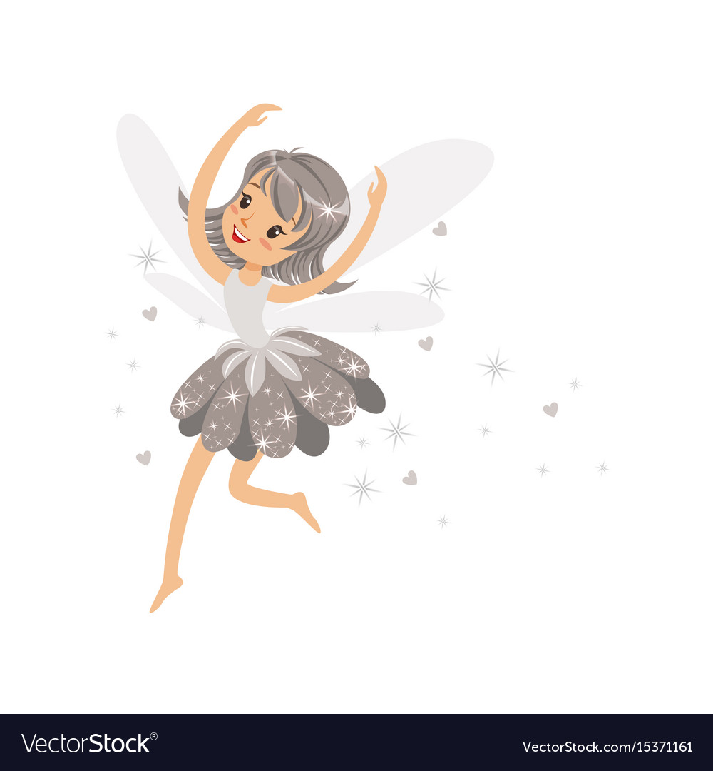Beautiful smiling gray fairy girl flying colorful