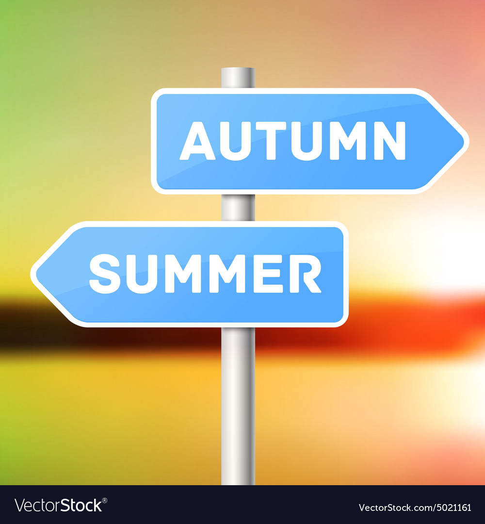 Blue sign post with directional arrows summer