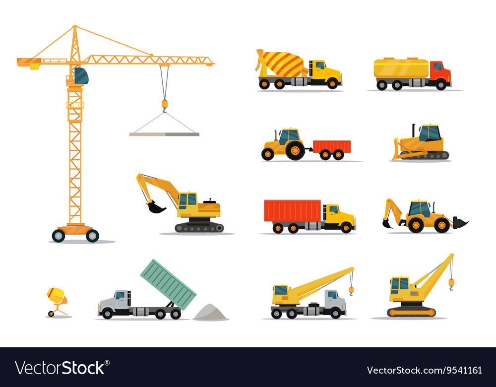 Construction Machinery Set Design Flat vector image
