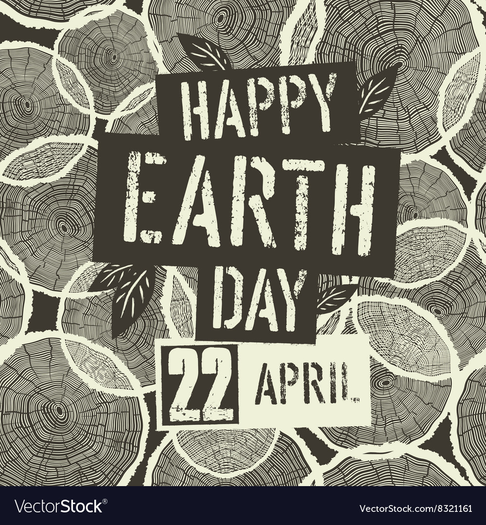 Happy Earth Day Logotype with 22 April date on