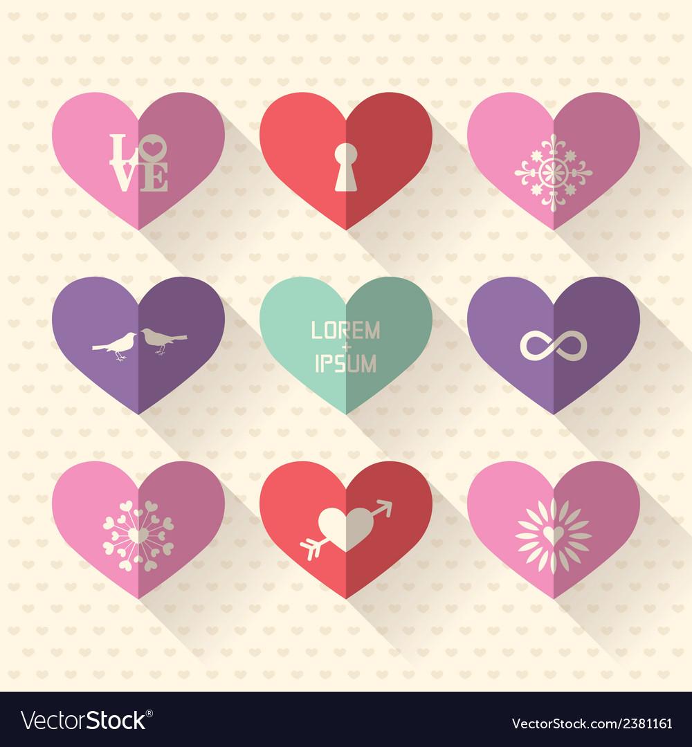 Heart symbol flat design icon set
