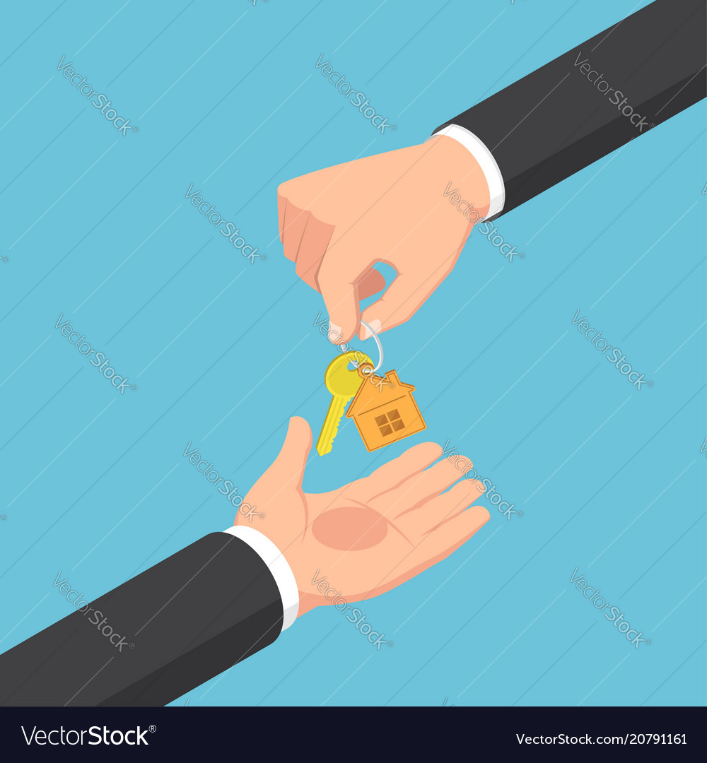 Isometric businessman hand giving golden house key