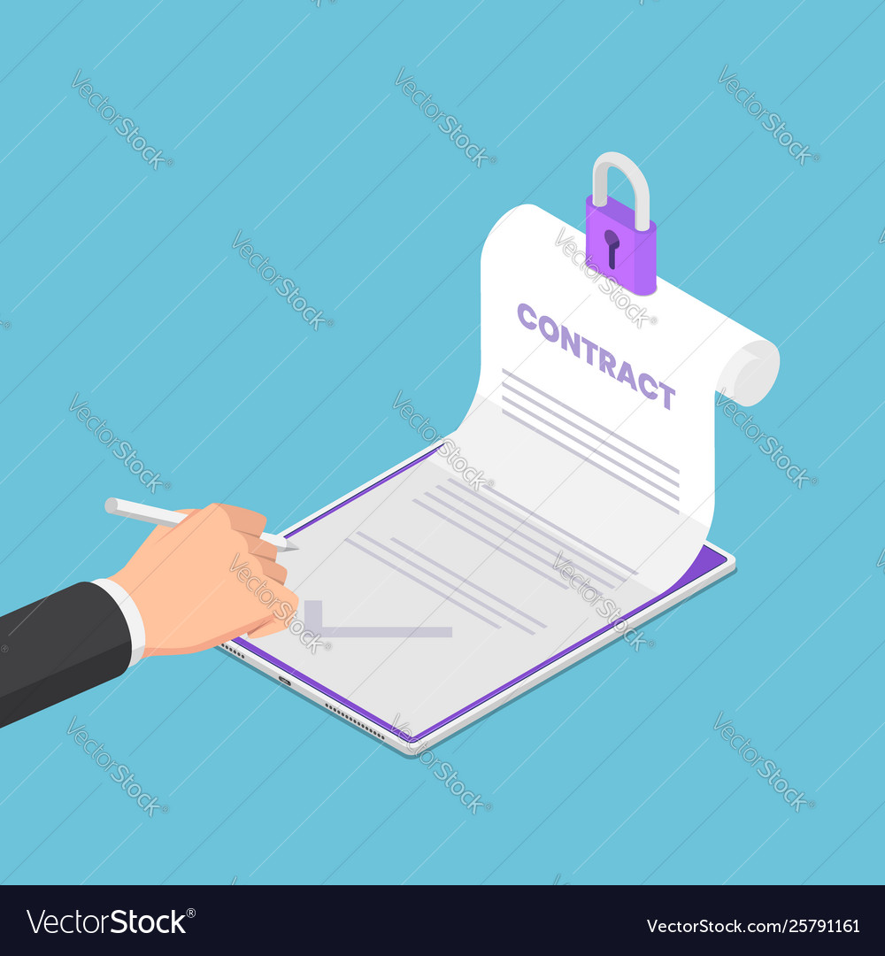 Isometric businessman hand sign up on electronic