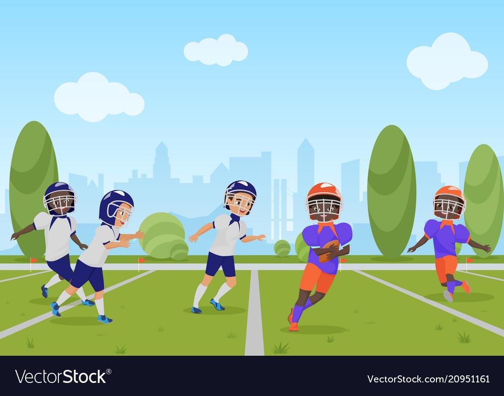 Kids children playing american football match