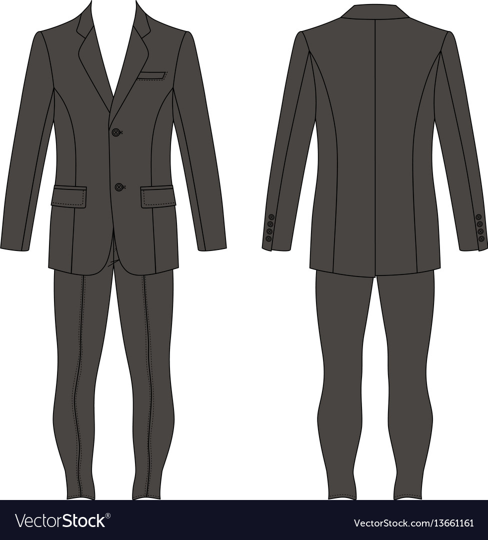 Mans suit jacket skinny jeans vector image