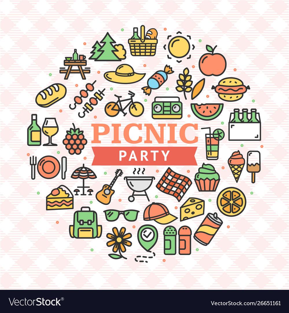 Picnic party round design template thin line icon