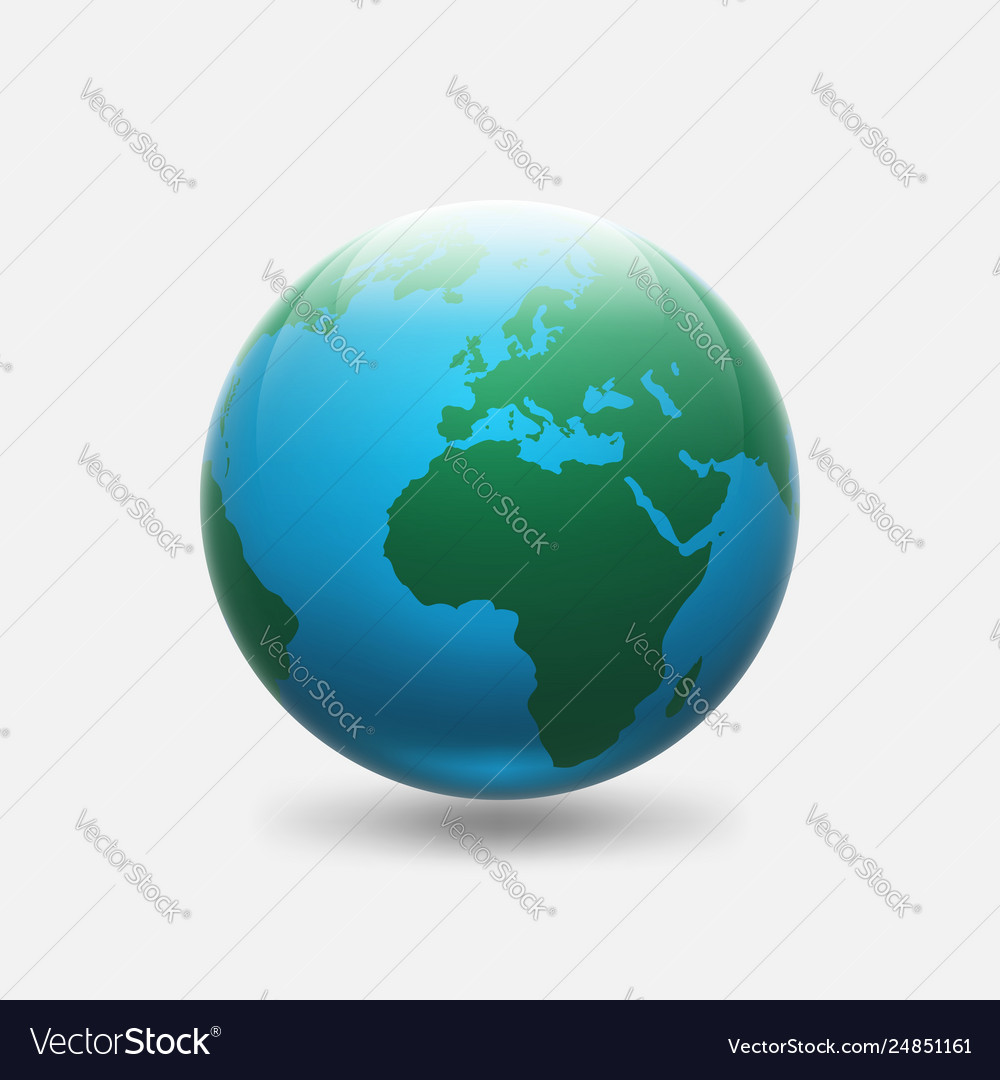 Planet earth with green continents africa and