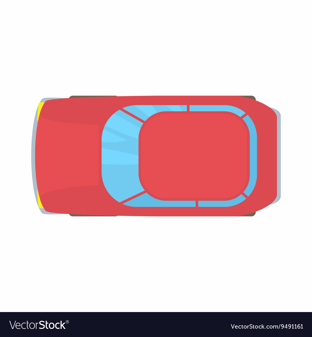 Red car top view icon cartoon style