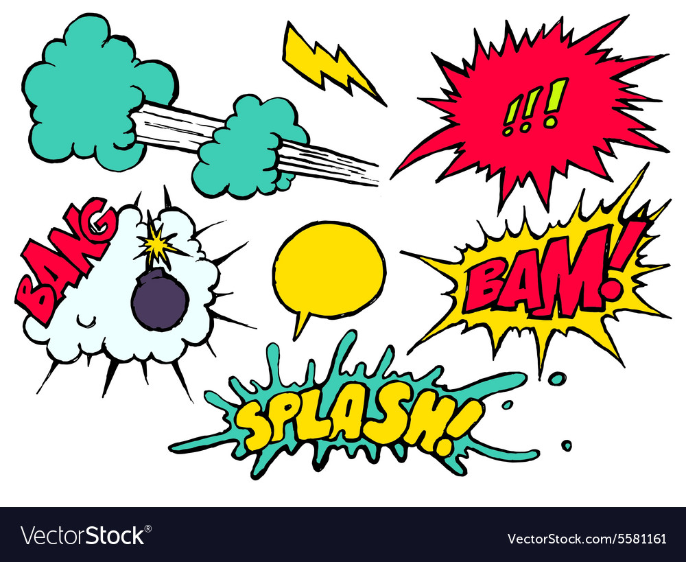 Set bright cool and dynamic comic speech bubbles vector image