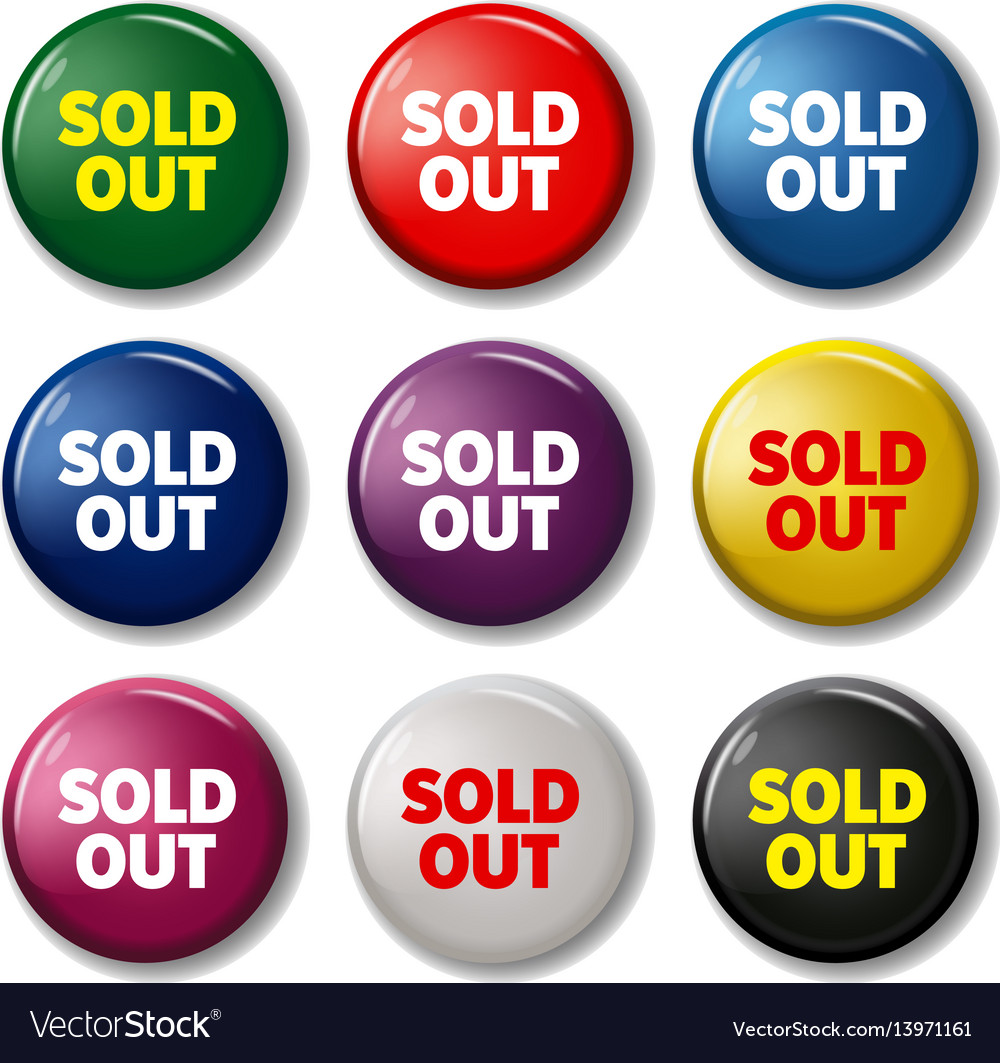 Set of round buttons with words sold out