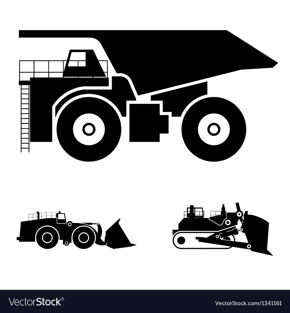 Symbol And A Bulldozer And Dump Truck Royalty Free Vector