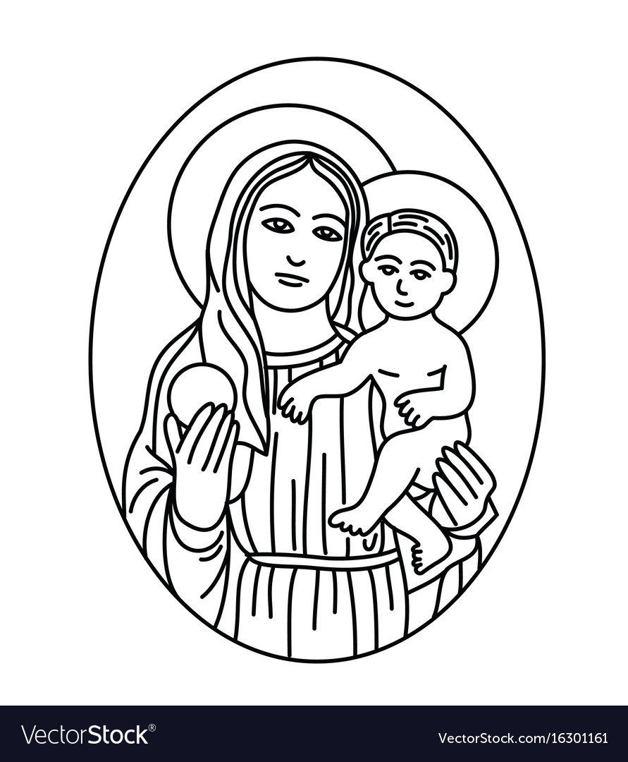 Virgin mary and son sketch line