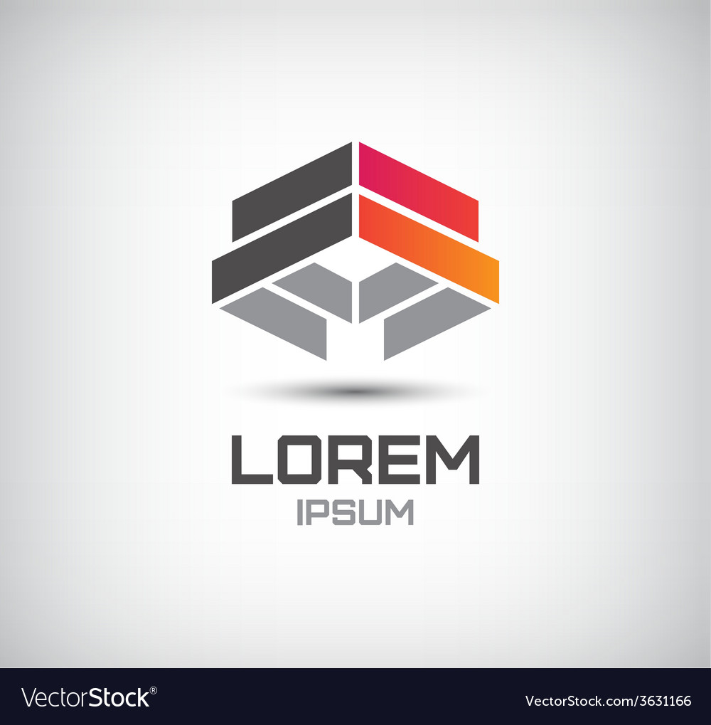 3d abstract colorful geometric construction logo