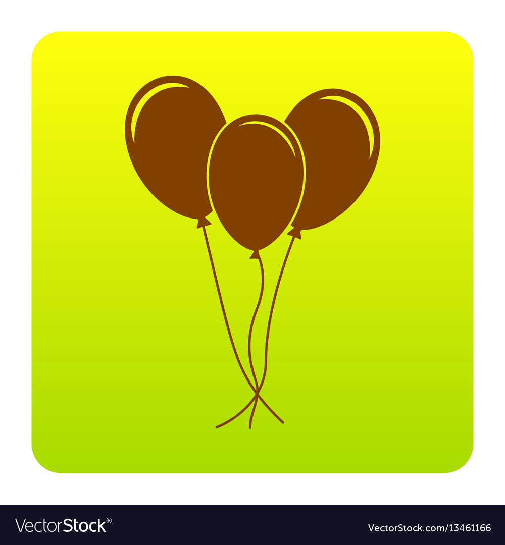 Balloons set sign brown icon at green