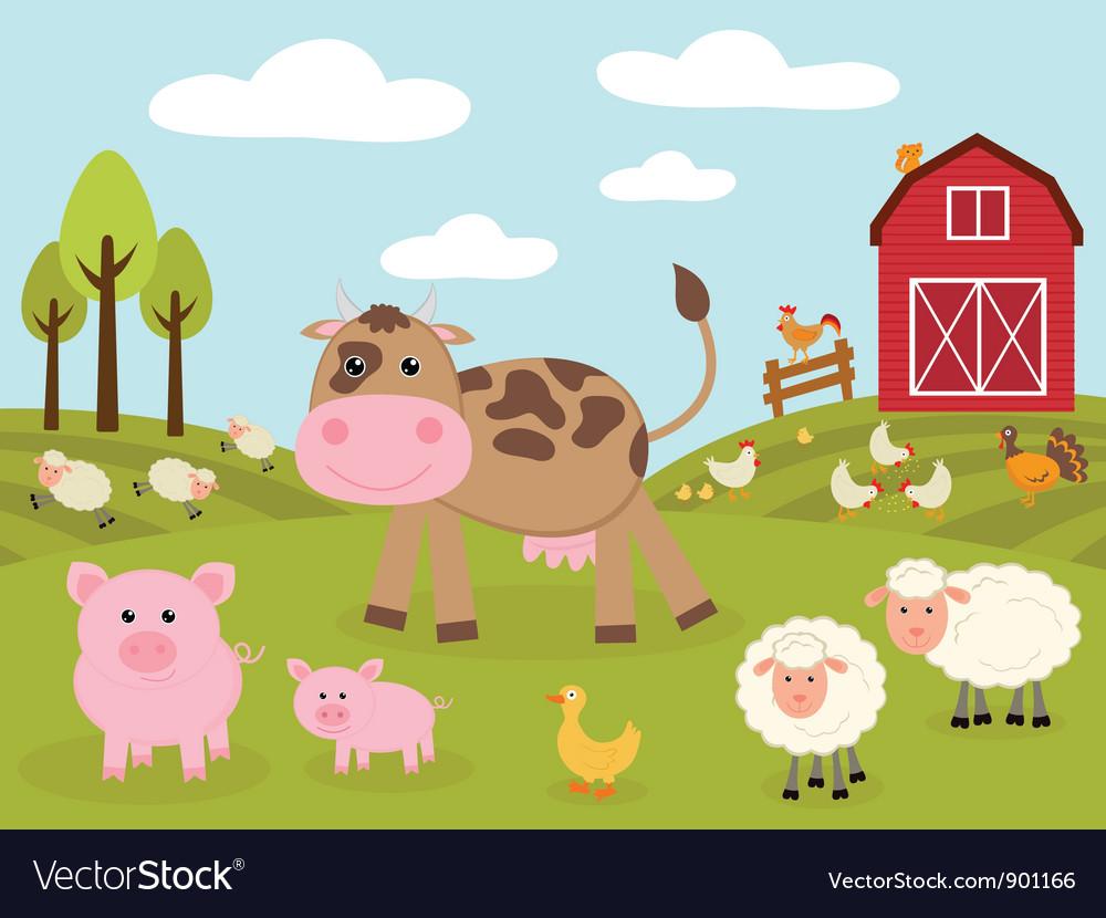 Cute little farm vector image