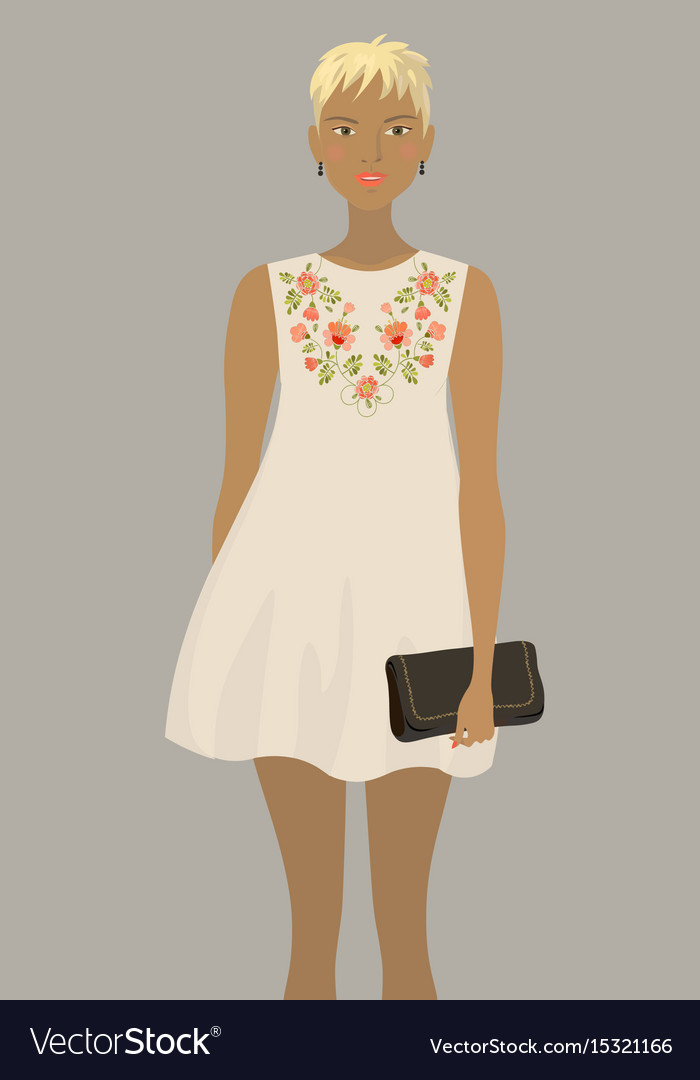 Fashion model in the white embroidered dress vector image