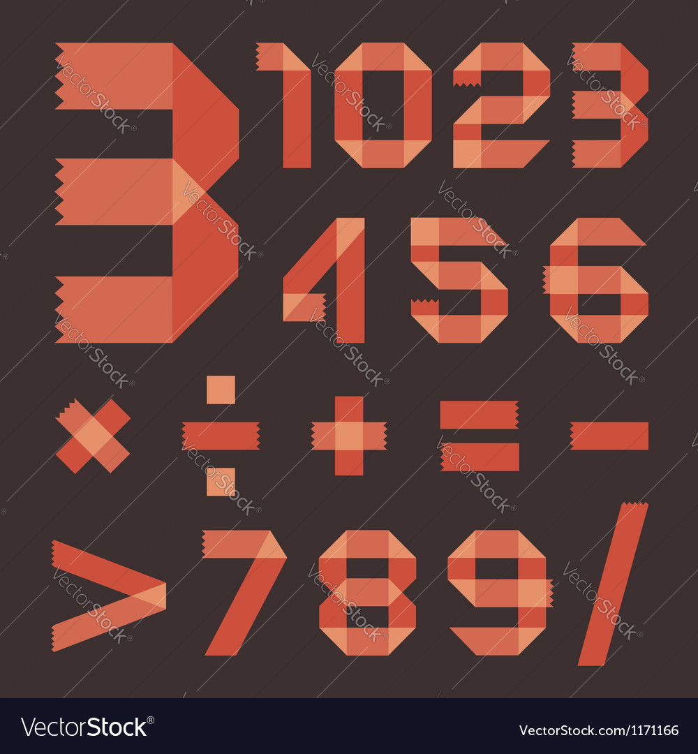 Font from reddish scotch tape - Arabic numerals