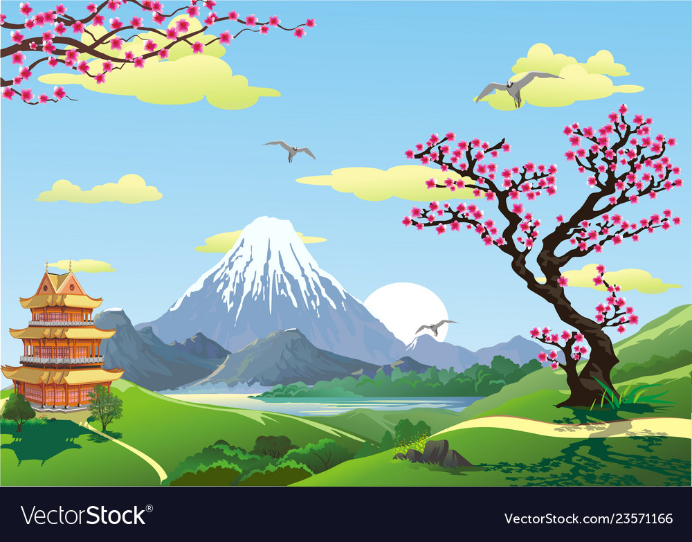 Japanese pagoda at the foot of the mountain the