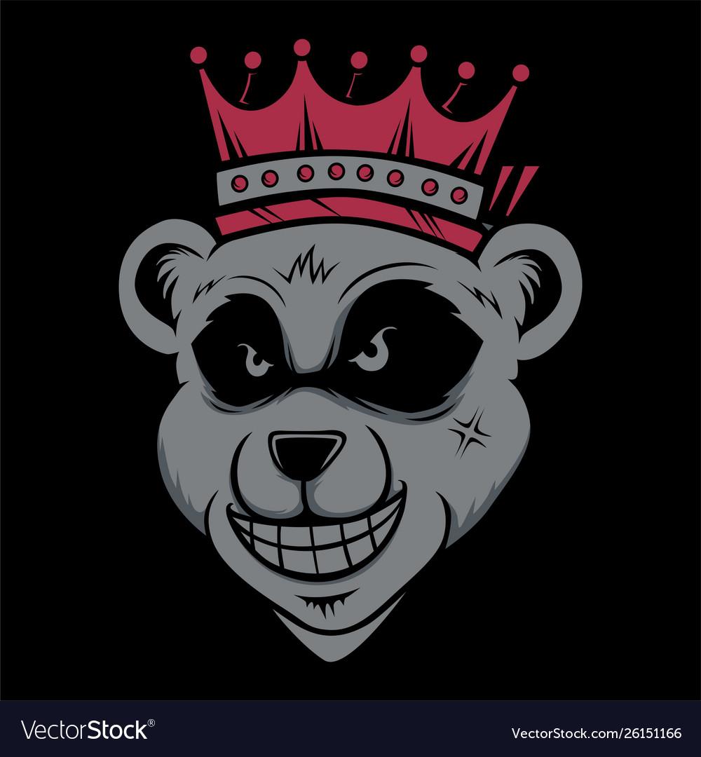 King bear wearing crownd head cat smoking hand