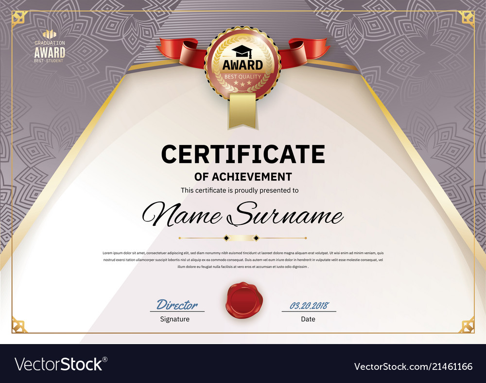 Official retro certificate with red gold design