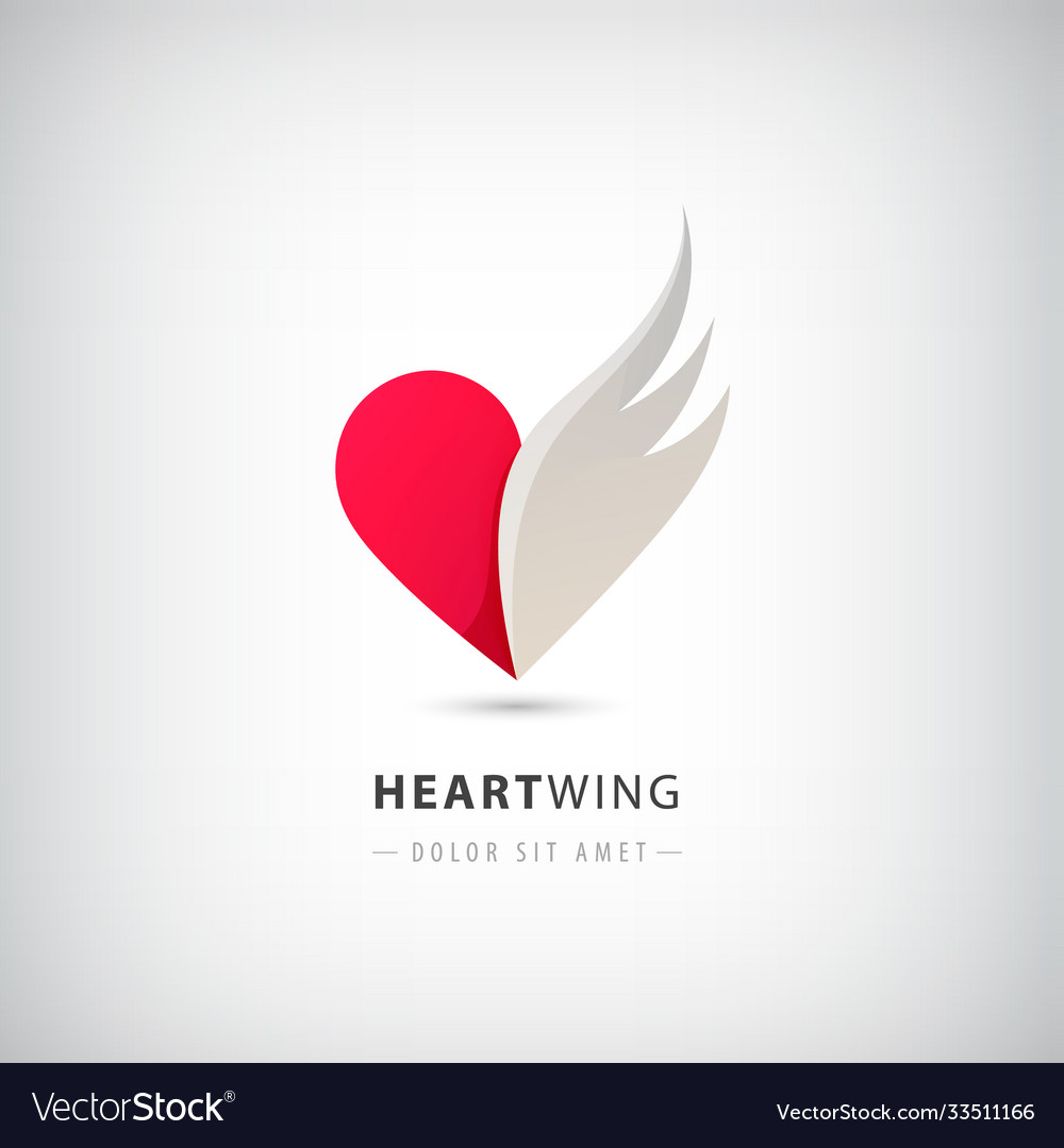 Red heart half logo with wing abstract