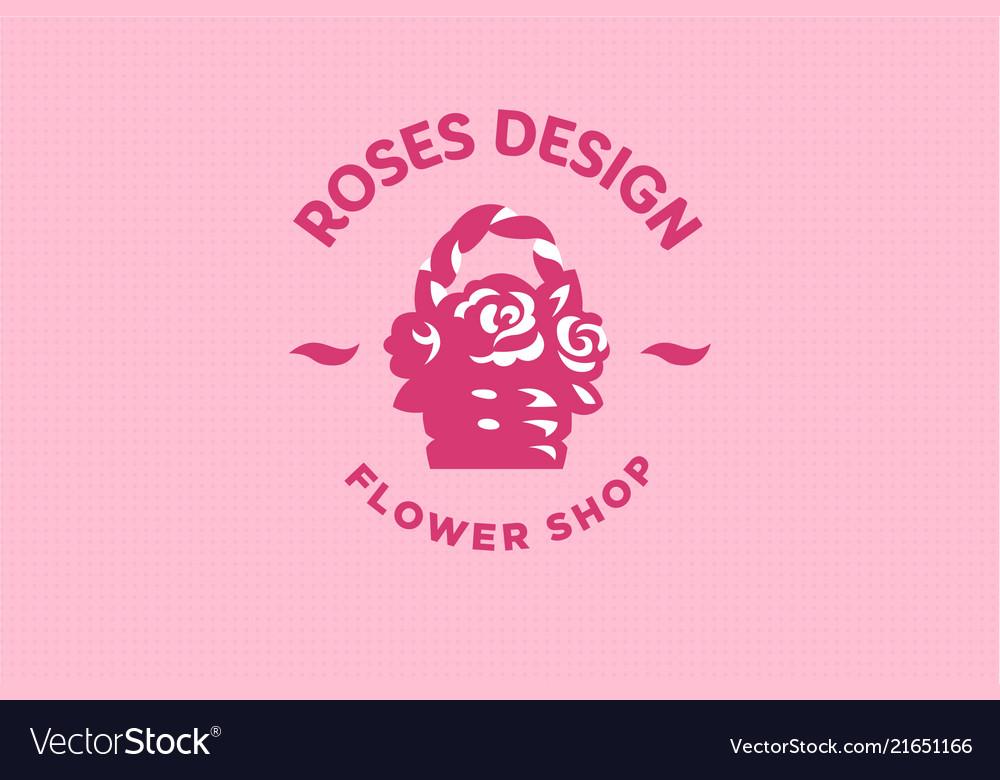 Roses in a straw basket emblem