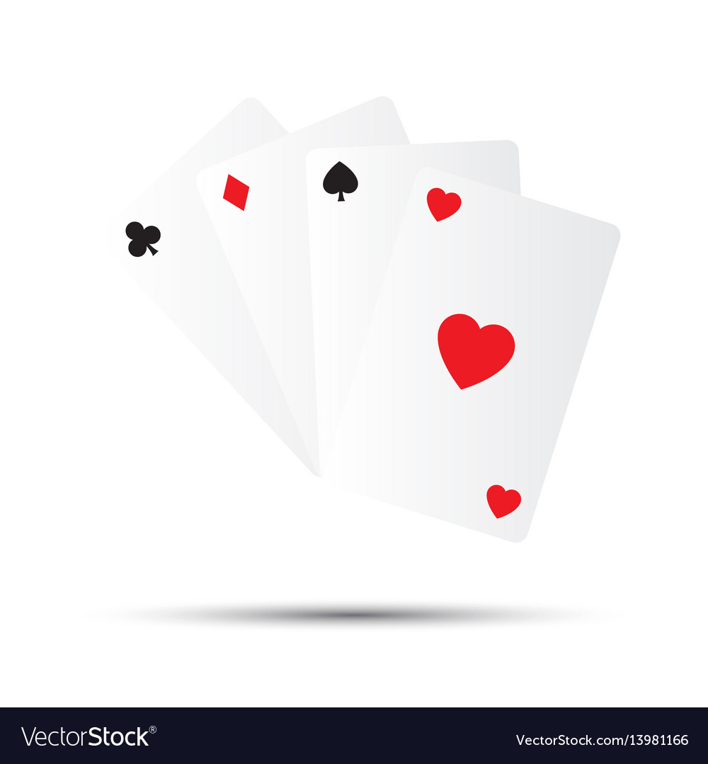 Simple playing cards isolated on white background