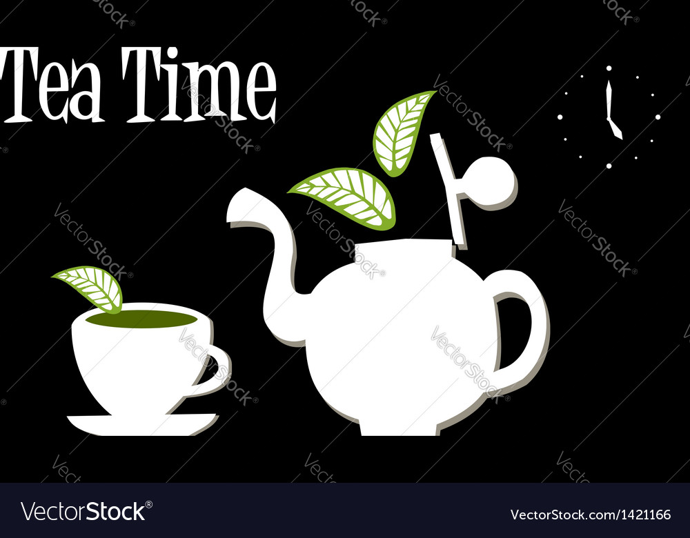 Tea Time Teapot and cup of tea vector image