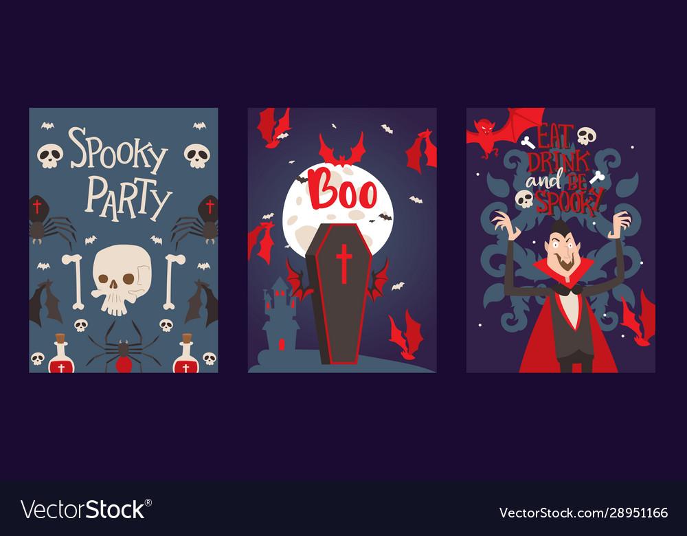 Vampire style halloween party invitation