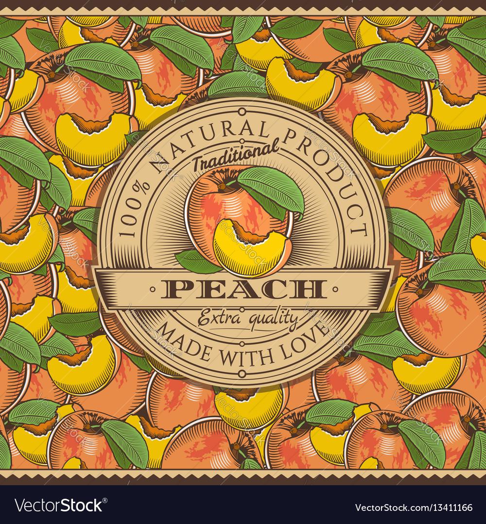 Vintage peach label on seamless pattern