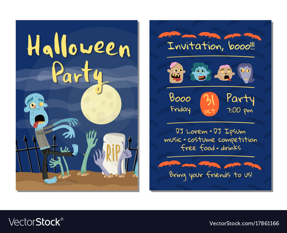 zombie party invitation with walking dead man vector image