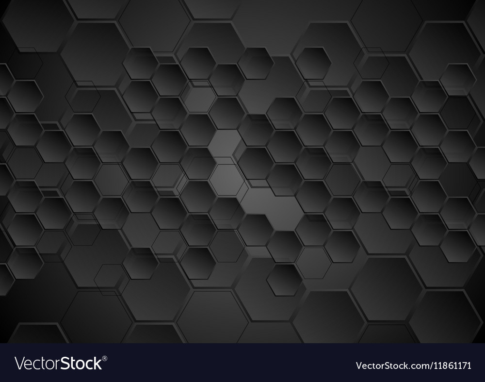 Abstract Black Background With Hexagons Texture