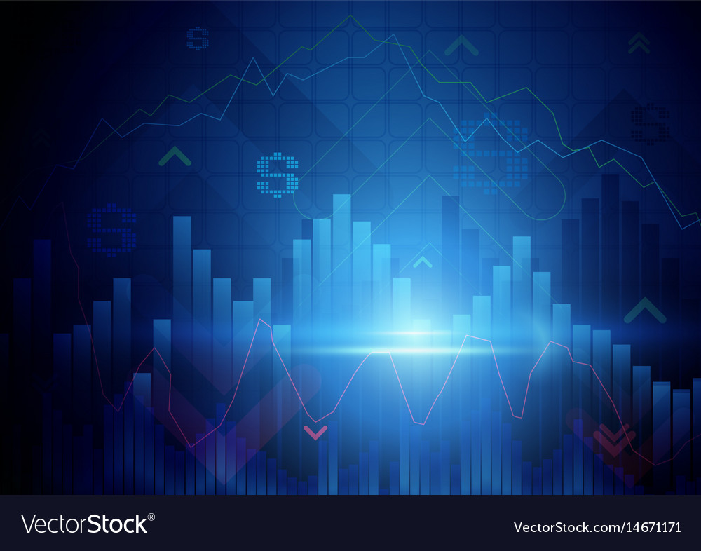 Blue abstract stock market concept background vector image