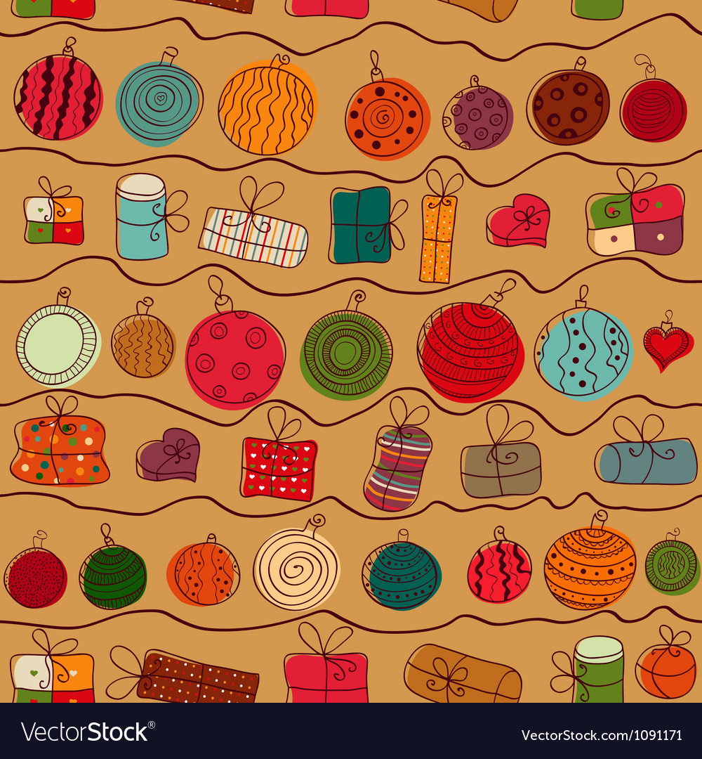 Christmas background with gifts and balls vector image