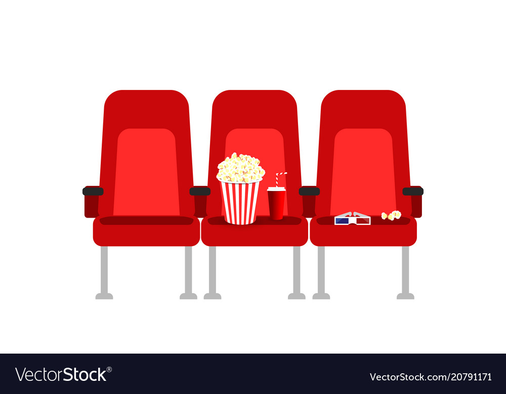Cinema seats in a movie with popcorn drinks and