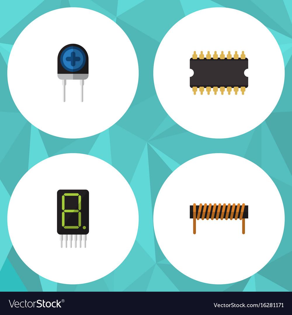 Flat icon technology set of bobbin display