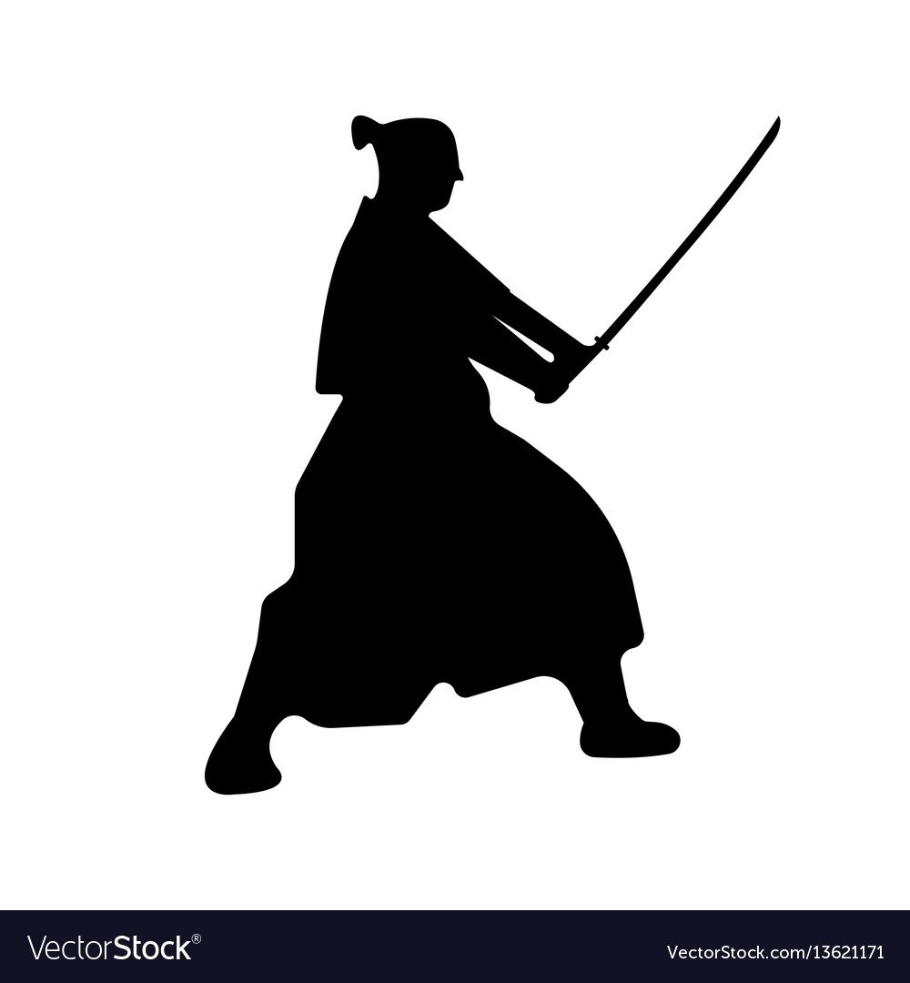 Samurai warriors silhouette with katana sword