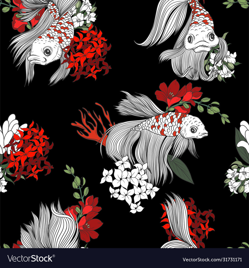 Seamless pattern with fish and flowers in graphic