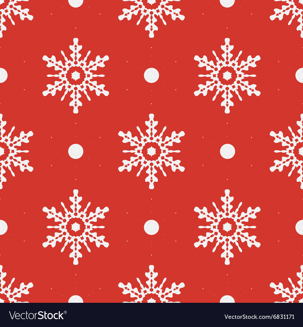 Winter seamless pattern with crystallic snowflakes