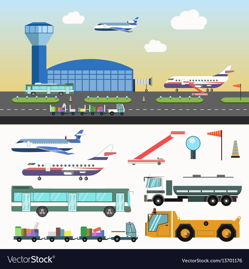 Airport structure and special vehicles set on